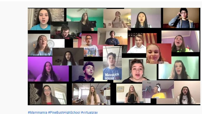 Pine Bush High school students perform the title song from 'Mamma Mia' on YouTube.