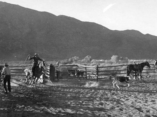 Roping at Deep Well Ranch, circa 1935.