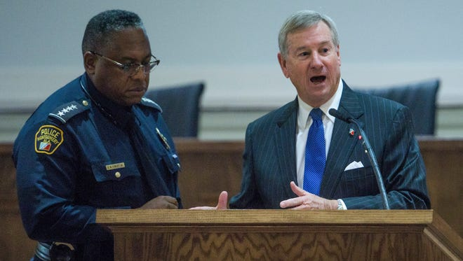 Montgomery Police Chief Ernest Finley and Mayor Todd Strange discusses crime and police work during his weekly briefing at city hall in Montgomery, Ala., on Thursday February 2, 2017.