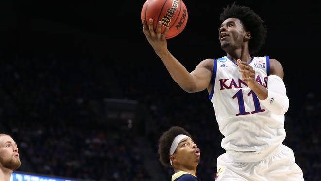 Mar 17, 2017; Tulsa, OK, USA; Kansas Jayhawks guard Josh Jackson (11) goes up for a shot during the second half against the UC Davis Aggies in the first round of the 2017 NCAA Tournament at BOK Center. Mandatory Credit: Kevin Jairaj-USA TODAY Sports