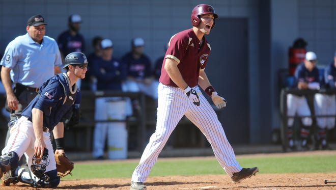 ULM's Jacob Stockton hit a three-run home run on Saturday.