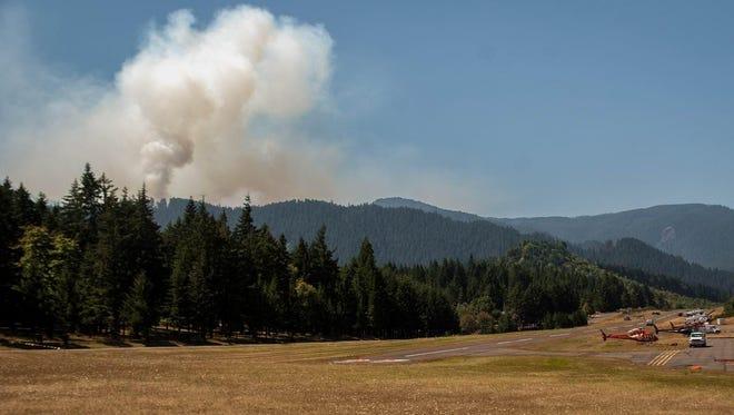 Helibase view of the Deception Complex fire west of Oakridge.