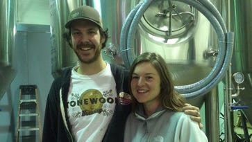 Eli Facchinei and Katie Labine are excited to see Tonewood Brewing Company near completion in Oaklyn.