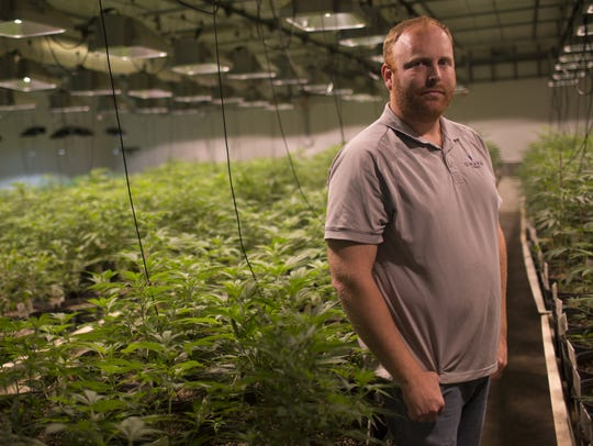 Matt Lascala, the head of cultivation for Huxton, stands