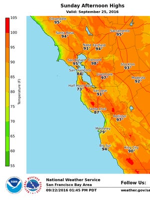 Map of forecast temperatures for Sunday, Sept. 25.