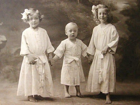 The third child of Georg and Ella Rother, George Rother, here with big sisters Evelyn and Ilse, will celebrate his 106th birthday on Feb. 16. Born in East Africa, Rother immigrated to the United States in 1931 and now lives in Arbor Glen in Bridgewater.