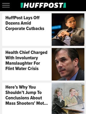A screen shot of HuffPost news coverage from a smartphone.