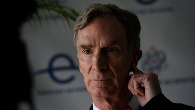 """Bill Nye """"The Science Guy"""" prepares for an interview at the March for Science event in Washington, Saturday, April 22, 2017."""