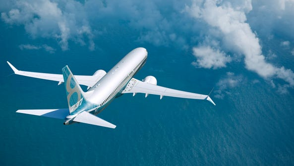 A Boeing 737MAX flies in this photo provided by Boeing.