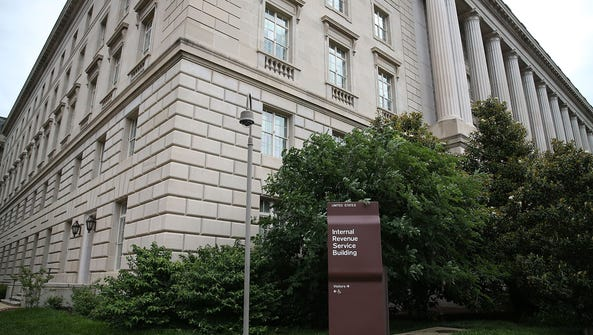 A sign stands outside the Internal Revenue Service