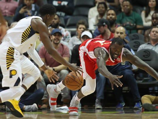Feb 28, 2018; Atlanta, GA, USA; Indiana Pacers guard