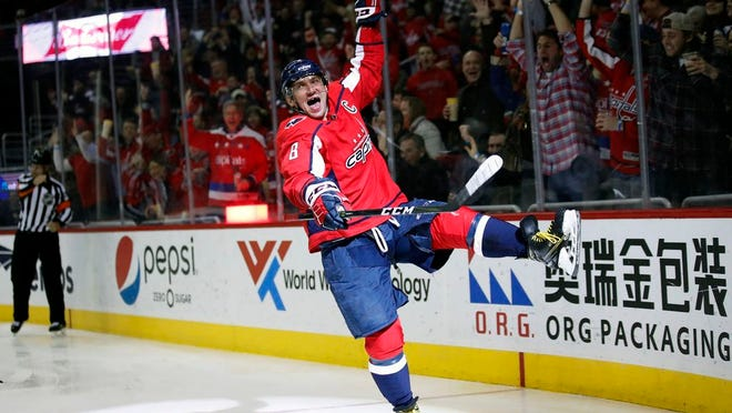 From March 12, 2018, Washington Capitals left wing Alex Ovechkin celebrates his goal in the second period of an NHL hockey game against the Winnipeg Jets, Monday,, in Washington. It was Ovechkin's 600th career goal. Ovechkin is on the verge of becoming the eighth player in NHL history to score 700 career goals.
