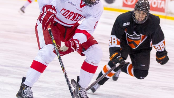 """Cornell forward Christian Hilbrich., pictured last season against Princeton, said on Friday of his Big Red that """"we hate losing more than we love winning."""""""