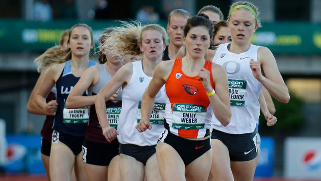 Oregon State's Emily Weber competes in the Oregon Relays last spring at Hayward Field in Eugene.