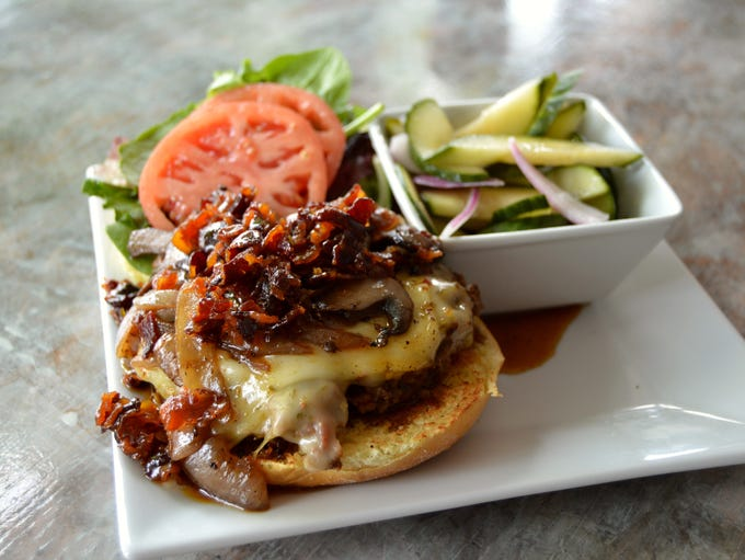 The bison burger from Rehoboth Ale House, served with