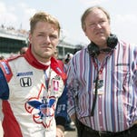 FILE -- Dale Coyne Racing driver James Jakes (19), left, looks on with team owner Dale Coyne, right, after his qualifying run. Pole Day at the Indianapolis Motor Speedway, Speedway, Ind., May 19, 2012. (Matt Dial / For The Star)