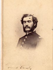 "Horace Walker in his Civil War uniform. Signed ""Yours truly, Horace Walker"" on front. Walker enlisted at Manitowoc Co. A 5th Wis."