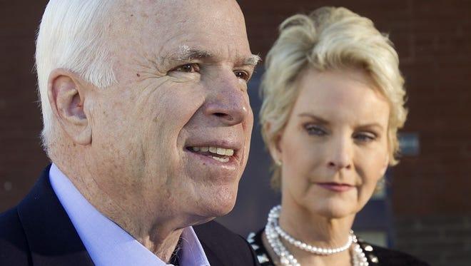 U.S. Sen. John McCain, R-Ariz., with his wife, Cindy McCain.