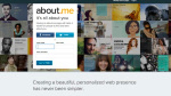 Screenshot of the About.me website.