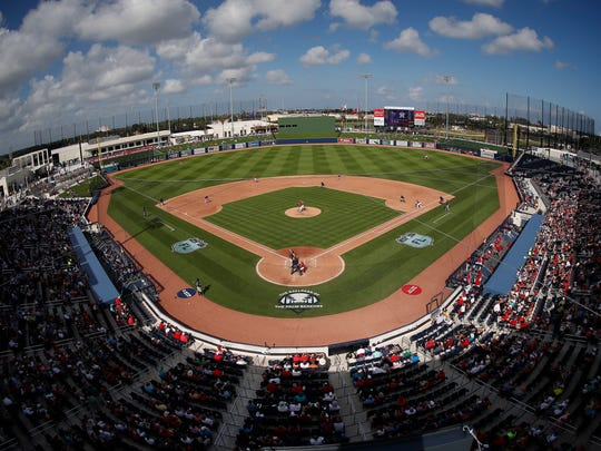 The Washington Nationals and the Houston Astros play a spring training baseball game at the FITTEAM Ballpark of the Palm Beaches in West Palm Beach.
