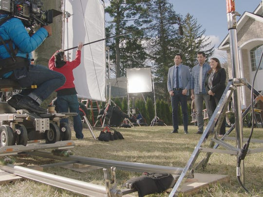 The Property Brothers film a commercial for Chase at
