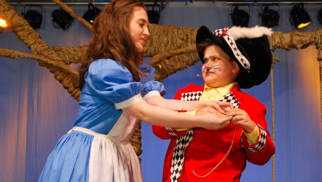 """Haley Jackson (Alice) and Jack McLaughlin (White Rabbit) rehearse for their production of """"Alice in Wonderland Jr."""" during San Angelo Broadway Academy's summer camp Thursday, June 22, at Foster Communications Coliseum."""
