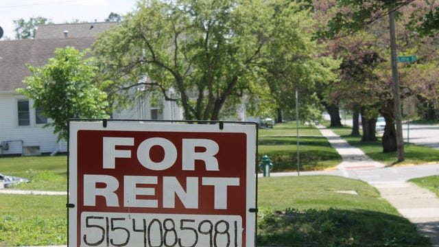 "A ""for rent"" sign outside an Ames home. The Ames City Council killed, then revived and ultimately passed an ordinance allowing exceptions to the rental cap in certain near-campus neighborhoods they imposed earlier this year. Ames Tribune file photo"