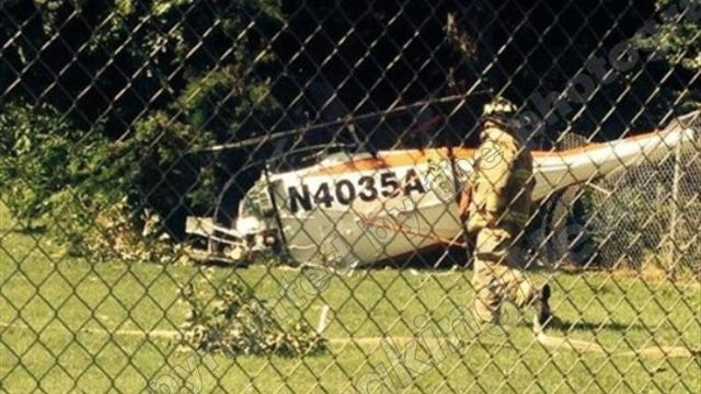 The chopper crashed behind Court House Pizza off Route 9 in a grassy area off South Boyd Street.