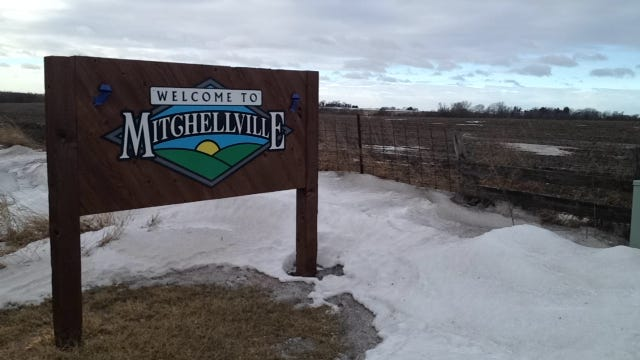 A sign welcomes visitors to Mitchellville.
