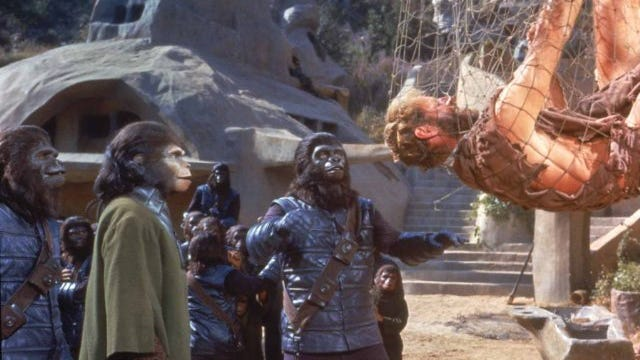 """Charlton Heston and Kim Hunter star in a scene from """"Planet of the Apes"""" (1968). Some northern Arizona locations were used for the 1968 versions of """"Planet of the Apes."""""""