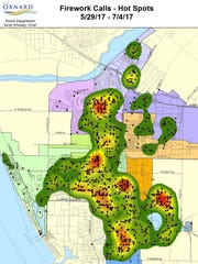 A heat map shows where the fireworks-related calls were made last year in Oxnard. Red shows the areas with the most calls.