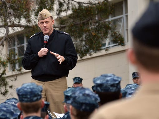 """This January 31, 2012 US Navy handout image shows Vice Adm. Michael S. Rogers, commander of US Fleet Cyber Command and U.S.10th Fleet, speaking to students and staff at the Center for Information Dominance, Unit Monterey, California, during an all-hands call. US President Barack Obama is expected to name a US Navy admiral as the next head of the embattled National Security Agency, the Washington Post reported on January 27, 2014. If confirmed by lawmakers, Vice Admiral Michael Rogers, 53, would take over at a difficult moment for the spy agency, which is under unprecedented scrutiny after leaks from ex-intelligence contractor Edward Snowden revealed the extent of NSA eavesdropping. AFP PHOTO / HO / MC1 Nathan L. Guimont            == RESTRICTED TO EDITORIAL USE / MANDATORY CREDIT: """"AFP PHOTO / US NAVY / MC1 Nathan L. Guimont / NO SALES / NO MARKETING / NO ADVERTISING CAMPAIGNS / DISTRIBUTED AS A SERVICE TO CLIENTS ==MC1 Nate Guimont/AFP/Getty Images"""