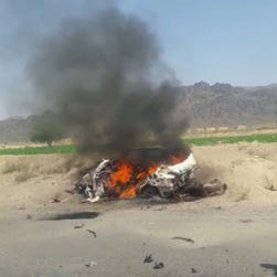 A frame grab from a video made available May 22, 2016 of the alleged scene of a drone strike site that killed Taliban's supreme leader Mullah Akhtar Mansoor, in the Ahmad Wal area of Balochistan in Pakistan.