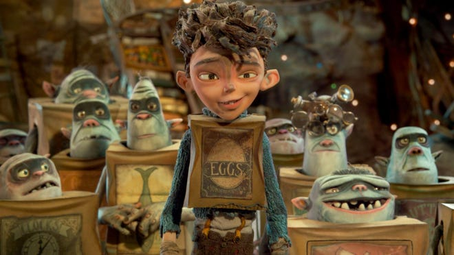 """Eggs (center), one of the cave-dwelling trash collectors from the animated film """"The Boxtrolls."""""""