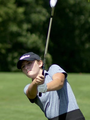 Mackenzie Howard hits an approach shot toward the 16th green at Lake Bracken Country Club, as she participates during the second round of the girls 13-14 year old division of the Galesburg Junior All-City golf tournament on Thursday.