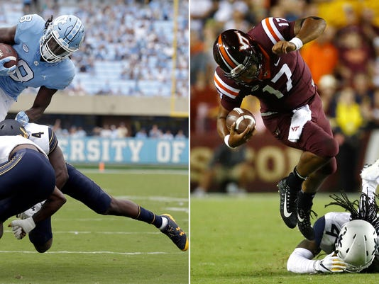 FILE - At left, in a Sept. 2, 2017, file photo, North Carolina's Michael Carter (8) jumps over California's Derron Brown (4) and Marloshawn Franklin Jr. during the first half of an NCAA college football game in Chapel Hill, N.C. Carter scored on the play. At right, in a Sept. 3, 2017, file photo, Virginia Tech quarterback Josh Jackson, left, rushes past West Virginia cornerback Mike Daniels Jr. in the second half of an NCAA college football game in Landover, Md. North Carolina plays at No. 14 Virginia Tech on Saturday. (AP Photo/File)