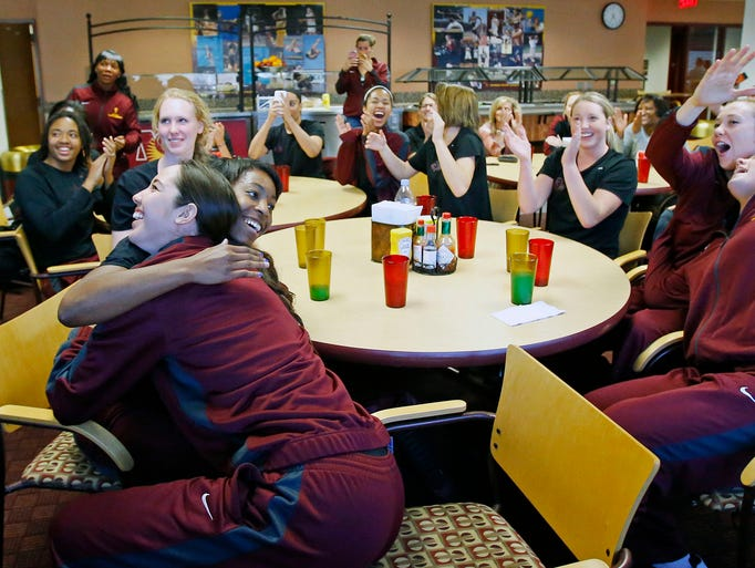 ASU women's basketball players react as they learn they have been selected for the NCAA Tournament.