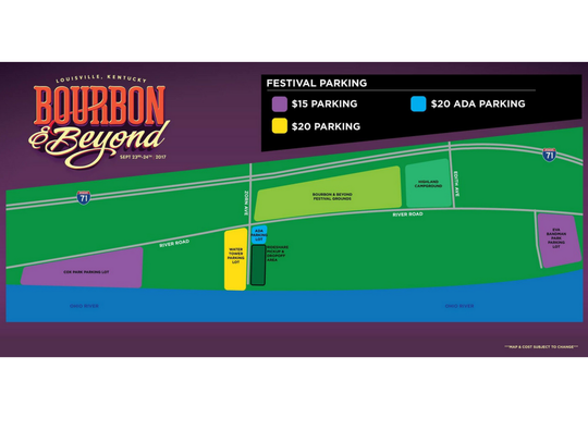 Bourbon and Beyond parking map.