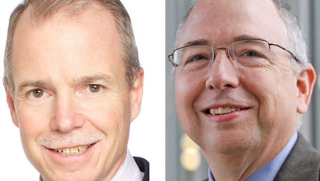George Oliver (left) will replace Alex Molinaroli as CEO of Johnson Controls International plc.
