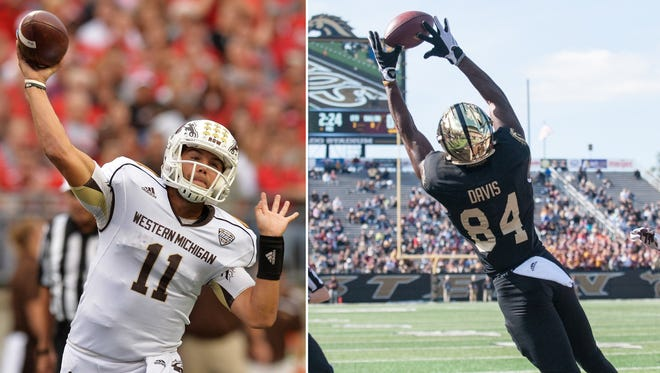 WMU quarterback Zach Terrell (L) and receiver Corey Davis