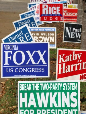 A lone third party presidental candidate sign asking voters to consider Howie Hawkins of the Green Party is seen outside the Gaston County Board of Elections on West Franklin Boulevard Thursday morning, Oct. 22, 2020.