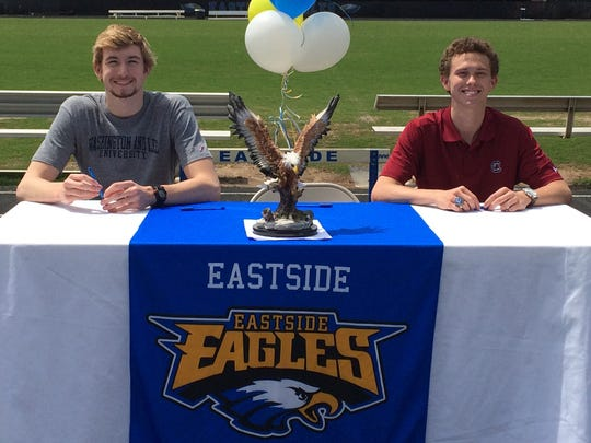 Eastside swimmers, from left, Evan Kramer and Connor Thorne will be continuing their careers at Washington and Lee University and the University of South Carolina, respectively.