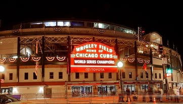 A night view of the Wrigley Field marquee celebrating the Chicago Cubs' world series win against the Cleveland Indians in Chicago, Illinois on November 6, 2016.