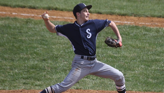 Suffern's Cooper Meldrim delivers a pitch during a game at Yorktown. Suffern won 7-1.