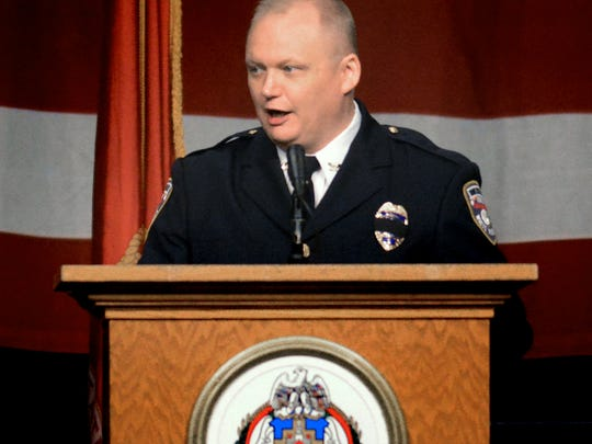 York City Police Chief Troy Bankert speaks during the memorial service for Alex Sable, a York City Police Officer and former Marine, at Utz Arena Friday, May 18, 2018. Sable was participating in a SWAT tactical training exercise Sunday, May 6, in Baltimore County, Maryland, when he suffered cardiac arrest. About 1,000 people, including law enforcement and fire personnel, attended the service. Bill Kalina photo