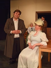 """Charley (Graydon Fisher) seeks to impress his girlfriend Amy Spettigue (Marissa Cozens) in a scene from """"Charley's Aunt."""" The comedy opens Saturday at Riverfront Playhouse."""