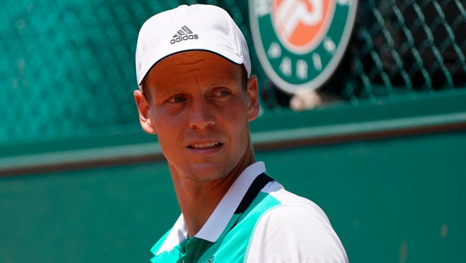 Tomas Berdych looks on as he plays against Karen Khachanov during their tennis match at the Roland Garros 2017 French Open.