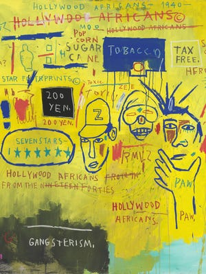"""""""Hollywood Africans,"""" by Jean-Michel Basquiat, is part of the exhibit """"Writing the Future: Basquiat and the Hip-Hop Generation,"""" on view at the Museum of Fine Arts in Boston."""