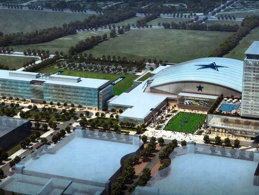 This preliminary rendering provided by The Dallas Cowboys shows the teams planned headquarters for Frisco, Texas. The Cowboys are partnering with Omni Hotels & Resorts to develop an upscale hotel on the site shown on the right with a pool. The 300-room hotel will be a key part of the mixed-use development going up around a 12,000-seat indoor stadium and team's practice facility. (AP Photo/Dallas Cowboys) NO SALES