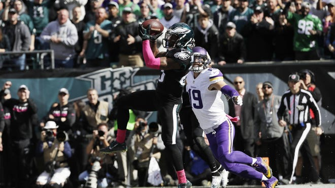 Philadelphia Eagles' Rodney McLeod intercepts a pass during the first half of a National Football League game against the Minnesota Vikings, Sunday, Oct. 23, 2016, in Philadelphia.